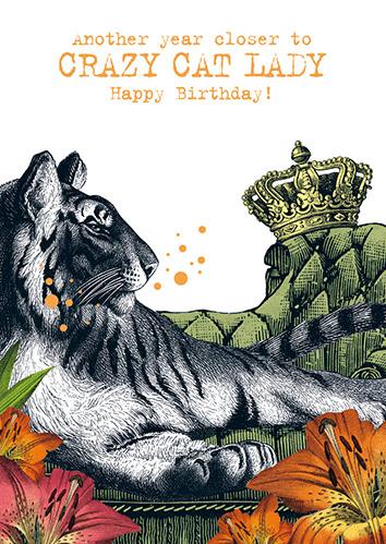 Klappkarte Another Year Closer To Crazy Cat Lady Happy Birthday Buchhandlung Lowenherz