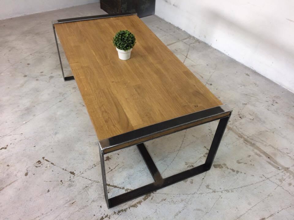 TABLE BASSE ACIER INDUSTRIEL