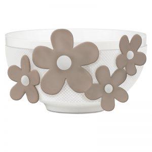 BACI MILANO Bowl Ciotola Bianca Fiori Tortora Flower Glam