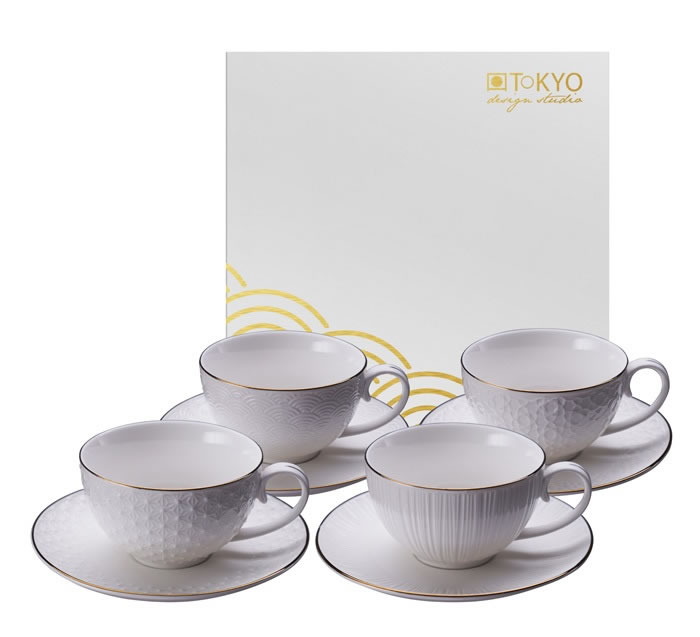 TOKYO DESIGN – Nippon White Set Caffè 4 Tazze Con Piattino 100 Ml