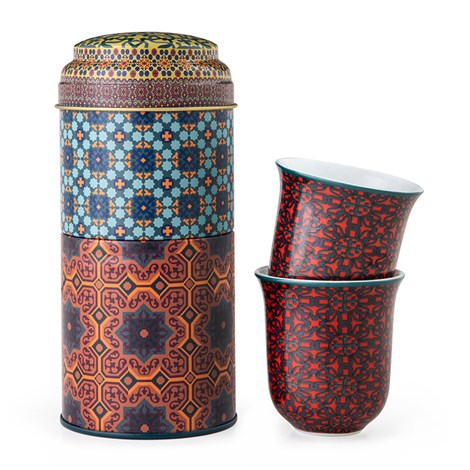 Images D'Orient | Vagabond | Scatola Di Latta Con 2 Tazze Da Caffè In Porcellana 90 Ml