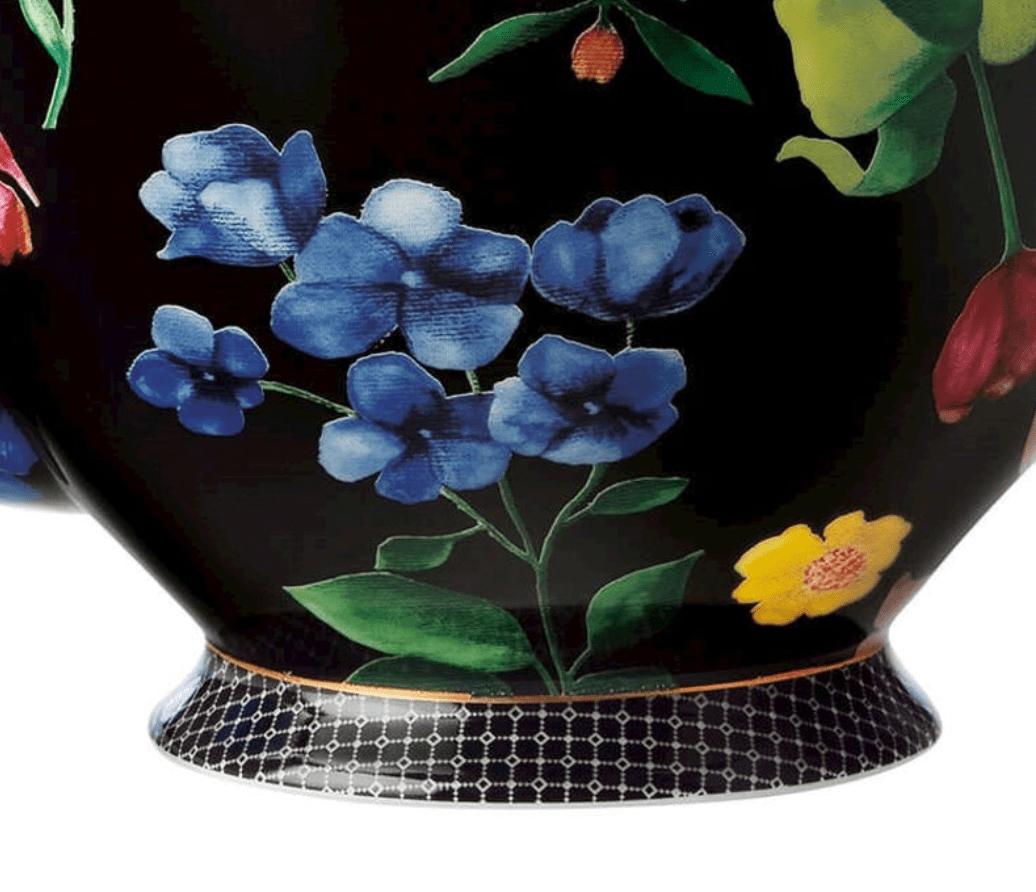 Maxwell & Williams Contessa Teiera In Porcellana Nera Con Filtro 1 Litro
