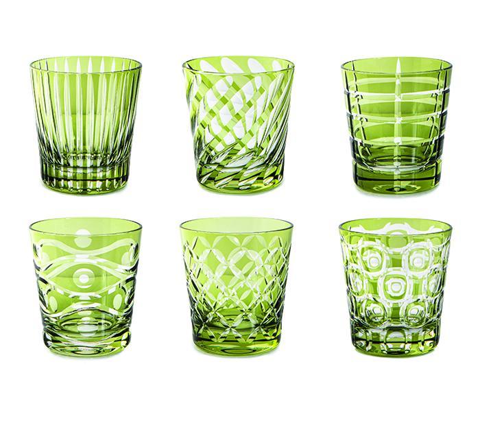 Livellara Tumbler 300 Ml Set 6 Bicchieri In Cristallo Luxury Fatti A Mano GREEN