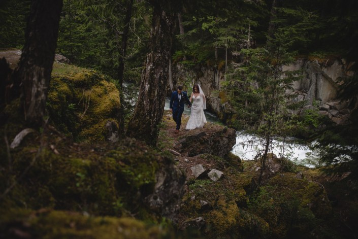 whistler river wedding portrait