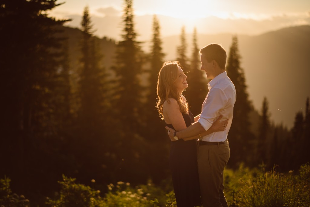 sunset engagement couple on whistler blackcomb mountain
