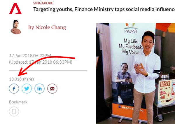 Channel News Asia's (CNA's) article share count of 13,018 exceed Buzzsumo's tally