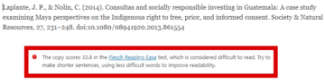 Long references and citations trigger the Flesch test penalty