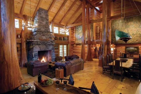 Log Home Great Room Interiors