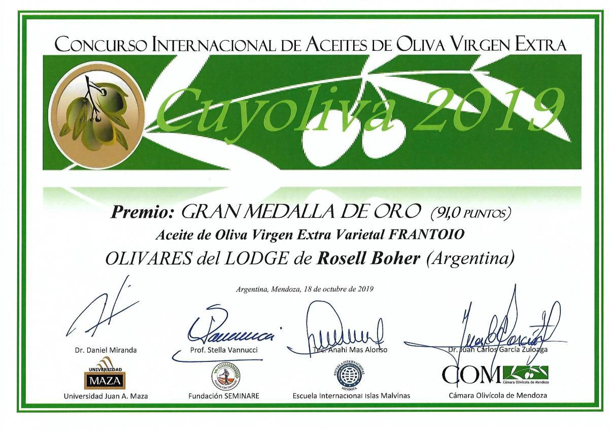 Gran Medalla de Oro para los aceites de Rosell Boher Lodge