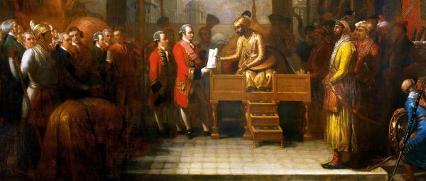 India's Alam conveying the grant of the Diwani to EIC's Clive in the year 1765
