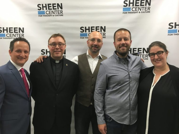 With David DiCerto, Father. John P. Cush, from the Vatican in Rome, Matthew O'Brien Director, Original Programming of Marvel TV and Julie Schuber Casting director of the Netflix Daredevil.