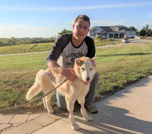 LSI's Scott Larson With Shelter Dog