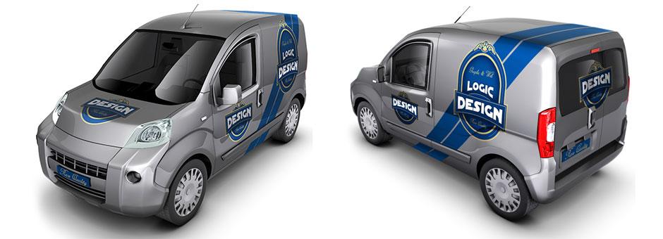 minivan car mock up front back