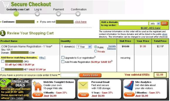 GoDaddy Coupon Code -April 2009