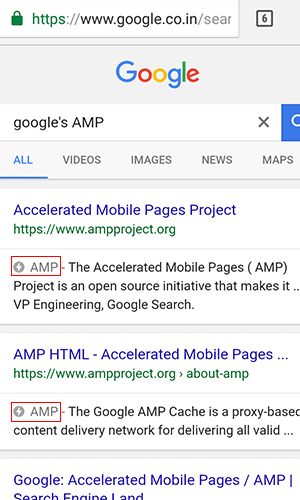 Example of Google AMP in Search Result