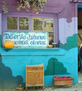 Local del taller de jabones, en el patio Sur de Tabacalera, junto al local de bicicletas