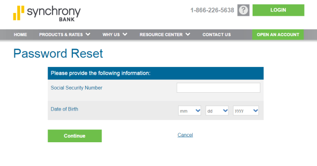 AAMCO-Credit Card reset Password steps