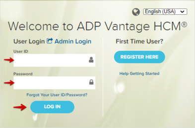 ADP Vantage HCM Login Form