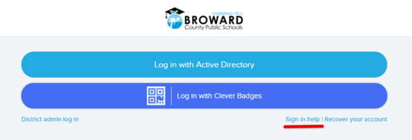 Broward Clever Sign in with Backup Code