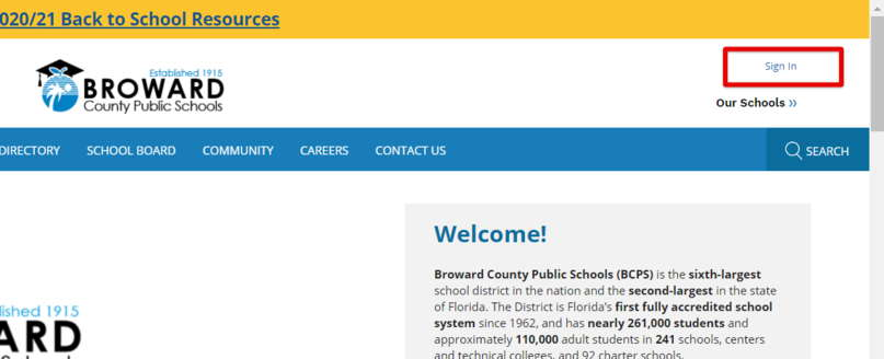 Broward Sign In Page