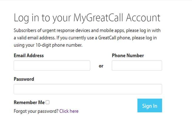 MyGreatCall Account Login Page