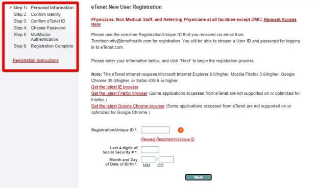 eTenet New User Registration