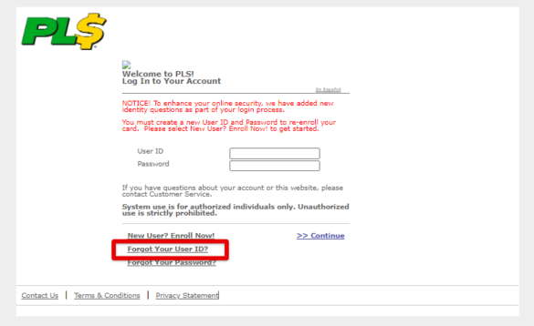 Forgot User ID for PLS Xpectations!