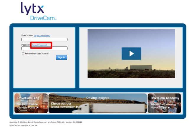 Lytx DriveCam Reset Password