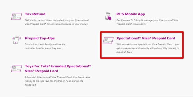 PLS Xpecations! Visa Prepaid Card Login Option