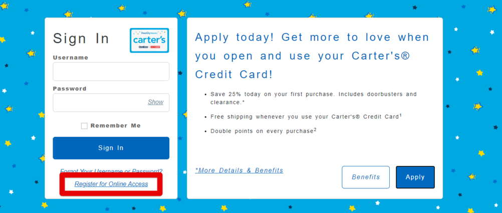 Register for Online Access Comenity Carters Credit Card