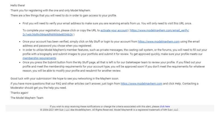 Model Mayhem - Welcome Email