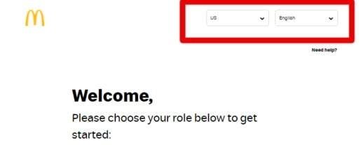 MCD login country select