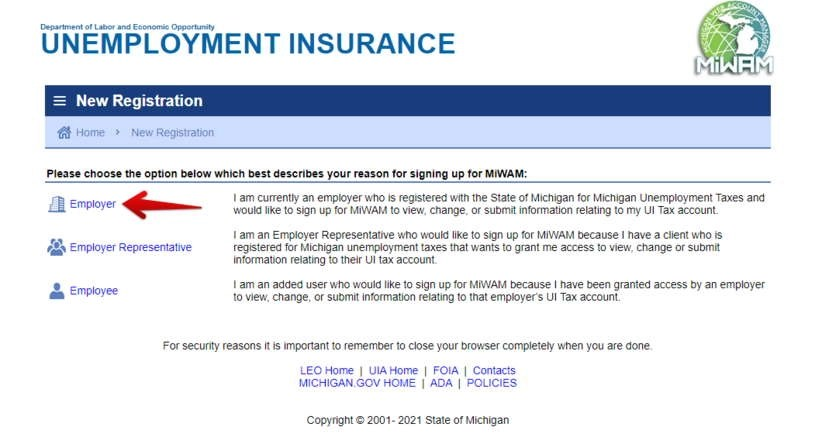 Registration MiWAM For Employers