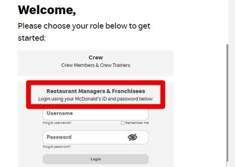 Restaurant Managers and Franchisees MCD login