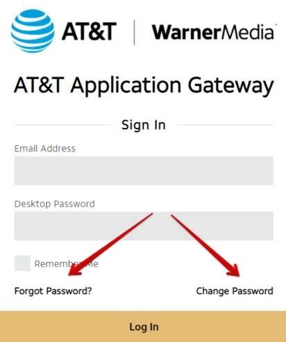 AT&T WarnerMedia Change or Reset Password