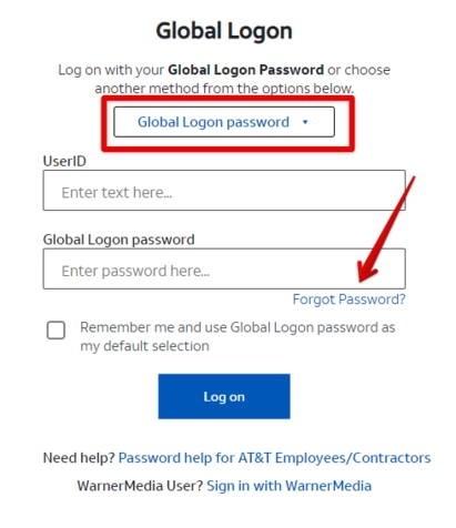 MyCSP AT&T Global Logon Forgot Password