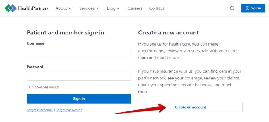 Sign in or create an account - HealthPartners ParkNicollet