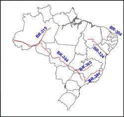 rodovias diagonais do Brasil