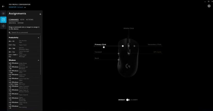 Logitech G403 mouse commands setting