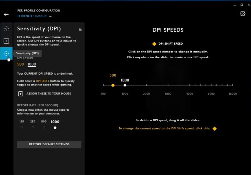 Logitech G502 DPI settings