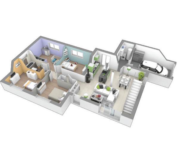 maison plain pied 4 chambres contemporaine