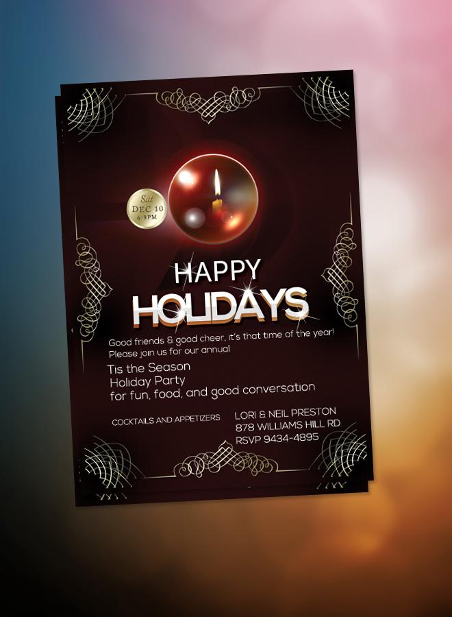 Happy Holidays Flyer Christmas Dinner Invitation Elegant