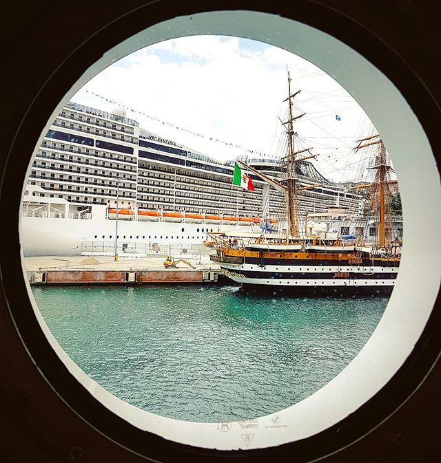 Her majesty the Amerigo Vespucci spotted by my porthole #amerigovespucci #mscfantasia #mscseaview #msccruises #cruising #cruise #crew #sailing #travel #traveling #traveler #instatravel #instago #instagood #trip #photooftheday #instapassport #instatraveling #mytravelgram #travelgram #travelingram #igtravel #instalife #travelblog #sea #travelstoke