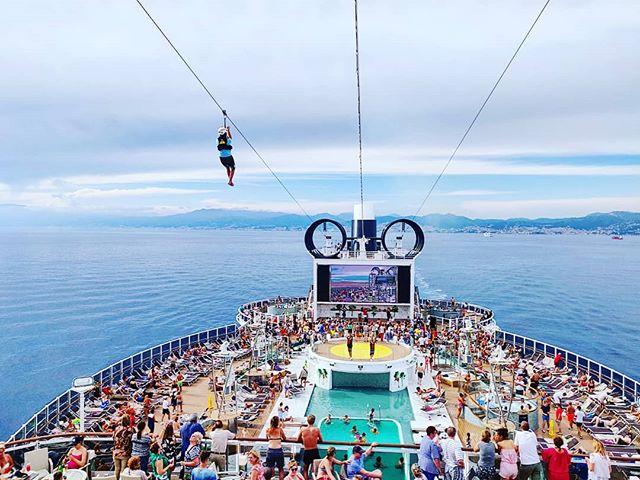 Bye bye Genoa, party time #mscseaview #msccruises #zipline#canopy #bluesea #cruising #cruise #crew #sailing #travel #traveling #traveler #instatravel #instago #instagood #trip #photooftheday #instapassport #instatraveling #mytravelgram #travelgram #travelingram #igtravel #instalife #travelblog #sea #travelstoke