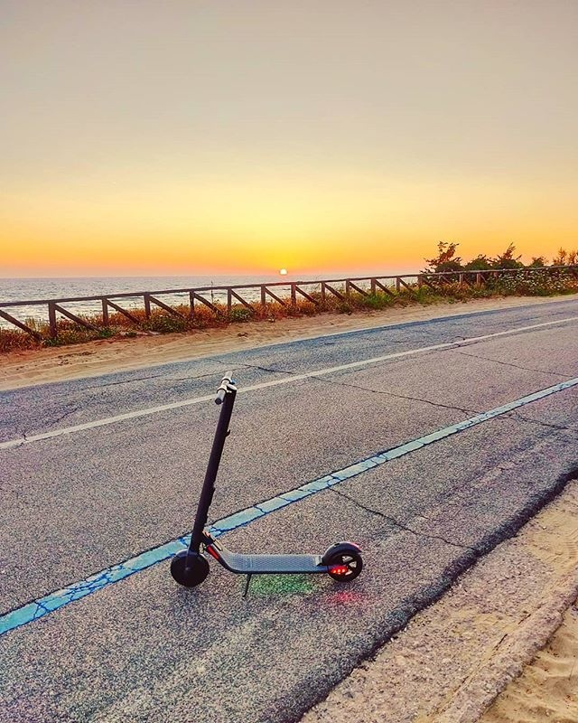 WoW i'm excided by my first ride with my new e-scooter•••#sabaudia #seaside #ride#micromobility #segway #ninebotes2 #sunset #scooter #electricscooter  #sea #beach  #sand #water #naturelovers #seascape #beautiful  #natureza #vitaminsea #seaview #refelctions #summervibes #seaside #riverside #ocean #amazing #nature #ripples #water_shots #waterfall #bluesea #sealovers