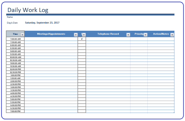 Daily log template free log templates pronofoot35fo Gallery