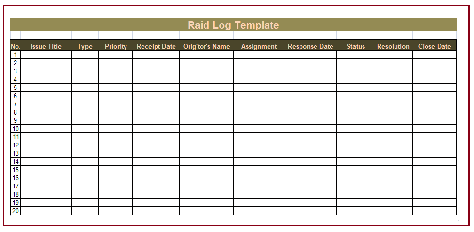 Raid log template free log templates for Project raid log template