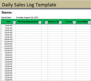 Sales Log Template