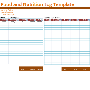 food and nutrition log Template