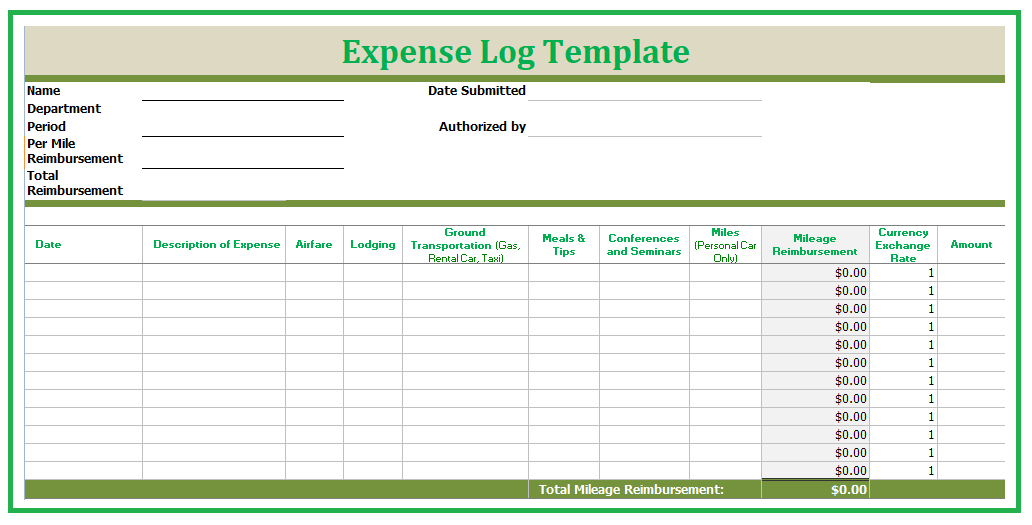 mix expense log template